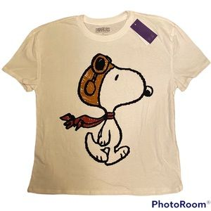 NWT PEANUTS HIPSTER FLYING SNOOPY GRAPHIC T-SHIRT WHITE SMALL